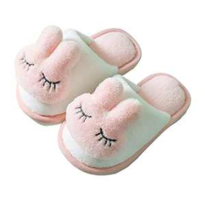 KUBUA Girls Boys Winter Warm Indoor Bedroom Shoes Kids Slippers Pink