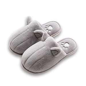 KUBUA Kids Winter Warm Slippers Boys Girls Indoor Bedroom Shoes Grey