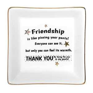 Friends Gifts for Her Girls Women, Ceramic Ring Dish Jewelry Tray Christmas Birthday Graduation Gifts for Best Friends Female