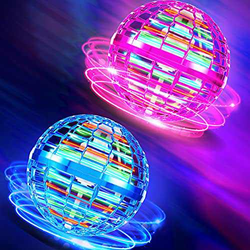 2 Pack Flying Spinner Magic Flying Toy Ball, Flying Spinner Toys Hand Operated Drone, Dynamic RGB Light Drop Resistant 30 Min Battery Life for Teens Adults Indoor and Outdoor Game (Blue, Purple)