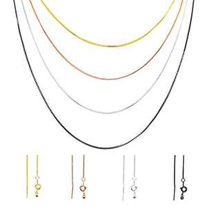 Set of 4 Necklace Chains, Adjustable Length, .8mm Box Chain, - Gold Chain, Silver Chain, Rose Gold Necklace Chain and Black Chain Necklaces for Women, Wear Up to 24 Inches Using Pin w/ Adjustable Slide Bead Feature. Includes Ring Clasp Closure.