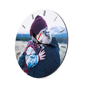 kaululu Personalized Wooden Wall Clocks Custom Photo Name Clock Family Wall Decor Wall Clocks for Living Room Decor for Friends Family (1 Photo Round Clock)