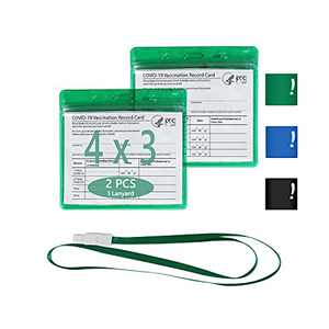 """Vaccine Card Holder,CDC Vaccination Record Card Protector Waterproof,2 PCS 4""""×3"""" Immunization Card Holder with 1 Lanyard,Clear Vinyl Plastic Protective Sleeve,ID Card Holder with Resealable Zip Green"""