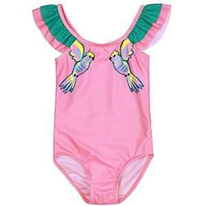 Maketina Toddler Baby Girls Swimsuit Ruffled Sleeveless Swimwear One Piece Cute Bathing Suits Pink 18-24M