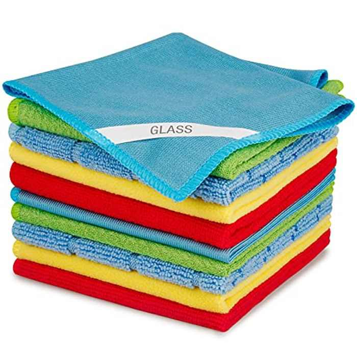 SEVENMAX Microfibre Cleaning Cloths, Multifunctional Cleaning Towels 10 Pack Rags with Label for Floor Glass Dust Polish Reusable Easy Clean Cloth for House, Kitchen, Windows, Car