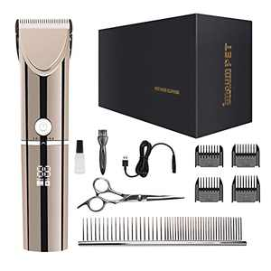 IMOUMPET - Dog Clippers for Grooming Cordless Pet Hair Clipper Professional Trimmer Supplies Rechargeable Electric Shaver Tool, Low Noise High Power for Dogs Cats Pets with Thick Heavy Coats