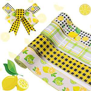 Lemon Wired Edge Ribbon, 26 Yards x 2.5 Inches Summer Spring Lemon Burlap Fabric Ribbon for Wreaths & Floral Arrangements, Lemon Print Ribbon for DIY Crafts Gift Wrapping, Hair Bows, Home Decor