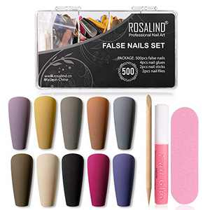 (500Pcs) Long Matte Press on Nails Set,Including Fake Nails and Glue on Nails with Nail Files,For Nail Extension art