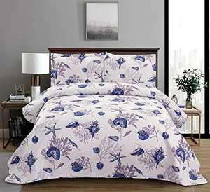3-Piece Coastal Sea Life Quilt Set King Size (96x108in.) Beach Themed Vivid Seascape Blue Conch Starfish Coral Bedspread Coverlet,Lightweight All Season Bedding Set for Home Bedroom Decor(Multi,King)