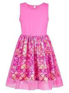 Girls Mermaid Dress Size 10 Summer Dresses for Girls 10-12 A-line Swing Dress Sleeveless Twirl Sundress Casual Wear Birthday