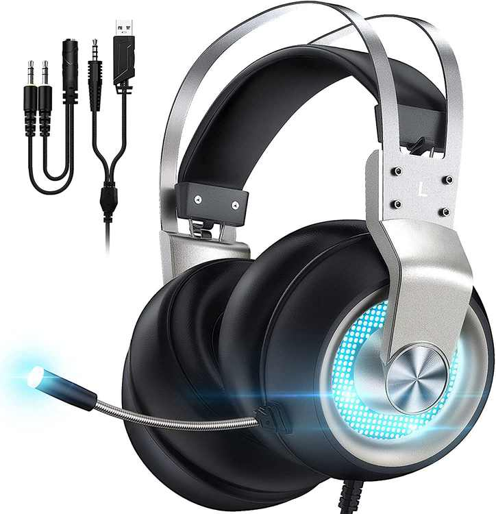 Gaming Headset for PS4, PS5, Xbox One, PC, Switch, Mac, 7.1 Suround Sound, Noise Cancelling Mic, In-Line Control, Over Ear Gaming Headphones with LED Light, Silver