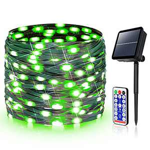 ROADAYLY Solar String Lights Outdoor Waterproof 300 LED 98.4ft Green Wire Fairy Lights with Remote Control 8 Lighting Modes DIY Leather String Lights for Wedding Garden Tree Party Decor (Green)