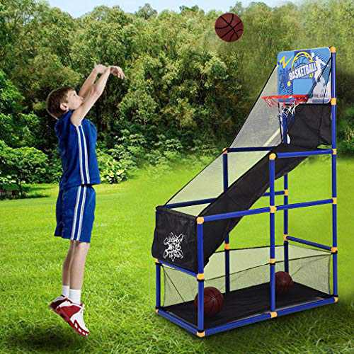 Mini Kids Basketball Hoop Stand Set, 18.5Inch Portable Goal Basketball System W/2 Basketball & Pump,Height Adjustable Outdoor Indoor Play Activity Center