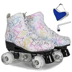 Wuwer Women's Roller Skates Double Row Four Wheels Roller Skates for Women and Men Roller Skates for Beginner Girls Indoor Outdoor with Shoes (White no Flash,41- US: 9)