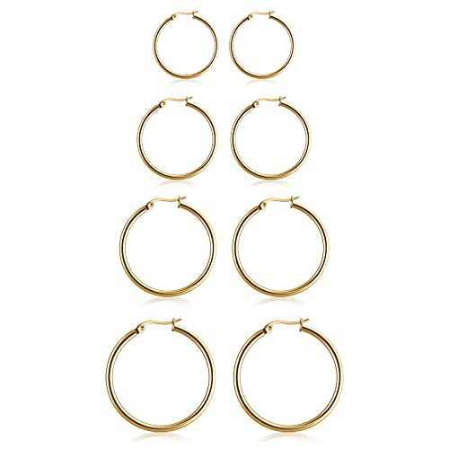 4 Pairs Stainless Steel Hoop Earrings Set, Hypoallergenic Hoop Earrings for Women Girls, Gold, 4 Sizes (15MM 20MM 25MM 30MM)