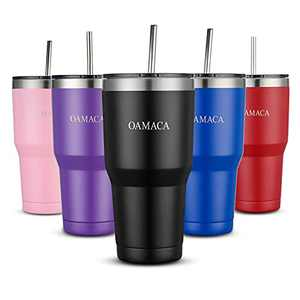 Oamaca 30OZ coffee tumblers with lids and straws,Stainless Steel Vacuum Insulated Travel cup,Double wall powder coated mug, Anti overflow Water cups for hot and cold drinks for Home Office,black