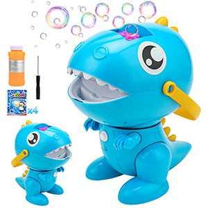 balnore Bubble Machine, Portable Automatic Dinosaur Bubble Blower 3000+ Bubbles per Minute for Kids