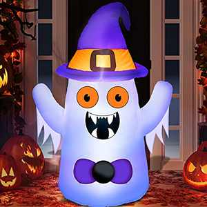 TURNMEON 3.5 Foot Halloween Inflatables Outdoor Ghosts Blow Up with Witch Hat LED Lights Halloween Decorations Outdoor for Yard Holiday Lawn Garden Party
