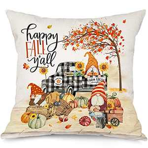 Fall Pillow Covers 18x18, Hello Fall Yall Pumpkin Gnomes Couch Throw Pillow Cover, Autumn Buffalo Plaid Truck Sunflower Maple Linen Square Cushion Cases Home Decor for Living Room Outdoor Outside Sofa