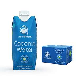 Palmdream Coconut Water - No Sugar Added | Premium Coconut Water | Non-GMO, Never from Concentrate, Gluten Free | Single Origin Coconuts | Natural Electrolytes to Boost Hydration (Natural - 330ml) 12 units