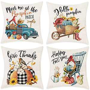 Fall Pillow Covers 18x18, Autumn Pumpkins Gnomes Decorative Throw Pillow Covers Set of 4, Happy Fall Yall Rustic Blue Truck Seasonal Linen Square Couch Cushion Cases Home Decor for Living Room Outdoor