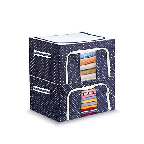Oxford Fabric Storage Box, Zipper Folding Holder Container Organizer with Steel Frame, Stackable Storage Bag Organizers, for Clothes Bed Sheets Blanket (15.7 x 11.8 x 7.8 inch, 2PCS)