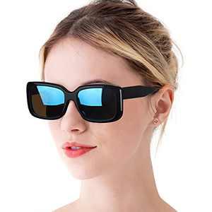 Vintage Rectangle Polarized Sunglasses for Women Retro Rectangular UV Protection Outdoor Eyewear (rectangular sunglasses black frame-blue lens)