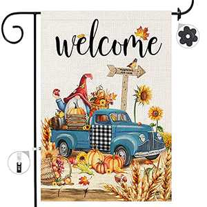 Bonsai Tree Fall Garden Flag, Happy Autumn Yall Pumpkins Yard Flags 12x18 Double Sided, Gnomes Old Blue Pickup Truck Sunflower Welcome Harvest Burlap Vertical Lawn Signs Home Outdoor Decorations