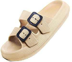 Weweya Men Women Adjustable Double Buckle Platform Pillow Slide Gym Sport Sandals Lightweight Soft Sole Non-Slip Quick Drying House Slippers Bathroom Shower Shoes Khaki Men Size 6.5-7 Women Size 8-8.5