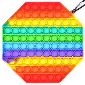 Big Size Push Pop Bubble Fidget Sensory Toy for Kids Adults Silicone Squeeze Sensory Toy Silicone Toy Special Needs Stress Reliever and Anti-Anxiety Toys 100 Bubbles Square Autism (Rainbow Octagon)
