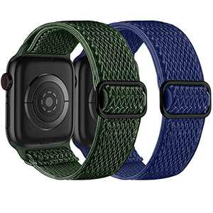 Witzon 2 Pack Stretchy Solo Loop Strap Compatible with Apple Watch Band 42mm 44mm iWatch Series 6 5 4 3 2 1 SE, Adjustable Nylon Elastic Sport Wrist Bands for Women Men, Army Green/Blue