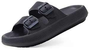 Weweya Women Men Comfort Double Buckle Adjustable EVA Flat Pillow Slides Sandals Shower Shoes Quick Drying Bathroom Soft Cushioned Massage Pool Gym House Slippers Black Men Size 5.5-6 Women Size 7-7.5