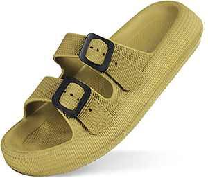 Weweya Men Women EVA Double Buckle Adjustable Sandals Slip on Lightweight Platform Slides Sandals Non-Slip Beach Pool Bathroom Spa Shower Slippers Summer Shoes Green Men Size 4-4.5 Women Size 5.5-6