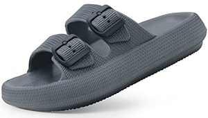 Weweya Men Women Slides EVA Adjustable Double Buckle Flat Sandals Quick Drying Lightweight Comfort Soft Bathroom Pillow Slides Soft Sole Open Toe House Sauna Slippers Men Size 8.5-9 Women Size 10-11