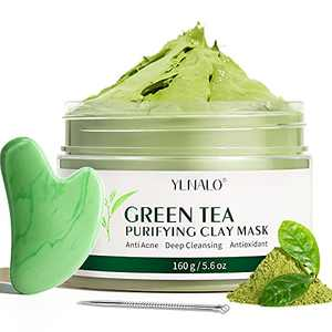 Green Tea Clay Mask Natural Antioxidant Detox Purifying Clay Mask Deep Cleansing Moisturizing Hydrating Facial Dead Sea Mud Mask with Gua Sha Facial Tool & Blackhead Remover Extractor Tool for Acne Blackheads Pores Wrinkles