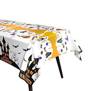 Fibevon Halloween Haunted Tablecloth 2 Packs 52 x 110 inches Rectangle Halloween Table Covers Premium Plastic Halloween Disposable Tablecloth for Halloween Party Decorations
