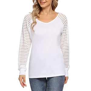 KOJOOIN Women Casual V Neck Tops Long Sleeve Patchwork Striped Sheer Blouse Shirts White