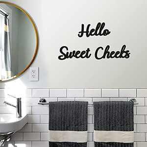 Hello Sweet Cheeks Funny Bathroom Sign Rustic Home Farmhouse Bathroom Wooden Decor 3 Pieces Modern Farmhouse Home Accent