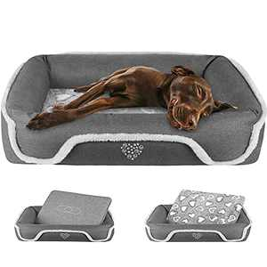 """VANKEAN Dog Bed26""""/34""""/38""""/43""""/48"""" with Reversible Mattress (Cool &Warm), Sleeping Pet Bed for Dogsand Cats, Machine Washable & Removable Coverswith Anti Slip and Waterproof Bottom,Grey"""