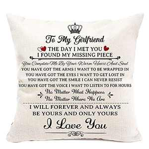 pinata Gifts for Girlfriend Pillow Covers 18x18 Inch, Birthday Gifts for Girfriend, Romantic Valentines Day Gifts for Her, Girlfriend, Decorative Pillow Case Square Couch Pillow Cover