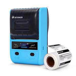 Detonger Portable Bluetooth Thermal Label Maker, DP23 Thermal Label Printer with a Roll of Label Paper for Clothing, Jewelry, Cable, Retail, Office, Compatible with Android & iOS, Blue