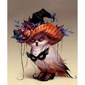 Halloween Diamond Painting, Magic Owl Diamond Art Kits , Halloween 5D Diamond Painting for Gifts, Wall Decor 12x16inch
