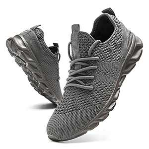Tvtaop Running Shoes for Mens Tennis Shoes Lightweight Casual Sneakers Walking Gym Sport Shoes Non Slip Grey,Mens Size 10