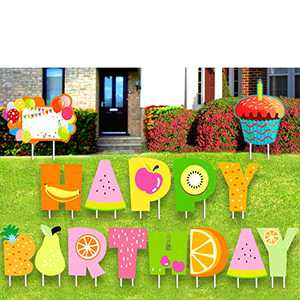 XIAPINMOON Happy Birthday Yard Sign Lawn Letter Set with Pile, 16 inches Fruit Taste Colors for Boy & Girl Yard Sign Backyard Celebration Color Party Outdoor Decoration Large 16in Letters W/Stakes