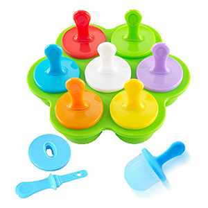 Mini Silicone Popsicles Molds for Baby with Lids & Sticks, BPA Free DIY Ice Cream Popcical Maker Mold for Children Homemade Food