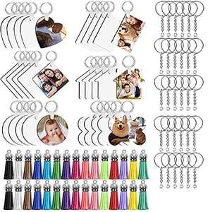 Sublimation Keychain Blanks Bulk , 80 Pieces Heat Transfer Double-Side Colorful Leather Tassels Dog Bone Keychains Tag , 40 Key Chain Rings Set for DIY Key Chains Wood Vinyl Crafts Making Ornament