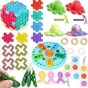 ASJUIO Fidget Toys Set, Sensory Toys for ADHD Stress Relief Fidget Toys for Kids Adults, Pop Fidget Pads for Building Rubik's Cube and Reversible Toys, Ideal Gifts for Birthday Party Class Rewards