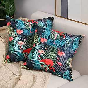Btyrle Waterproof Cushion Covers with Digital Printing, Decorative Throw Pillow Cover, Soft Pillowcases with Invisible Zipper for Outdoor Sofa and Couch, 45x45cm/18x18 Inch, Pack of 2,