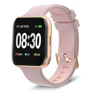 BRIBEJAT Smart Watch for Women for Android Phones Compatible iPhone Samsung, Activity Tracker Smartwatch IP68 Waterproof, Heart Rate and Sleep Monitor, 39mm, Rose Gold/Pink