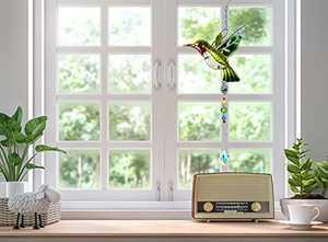Crystal Suncatcher Garden Stained Glass Window Hanging Ornament Sun Catcher Patio Decor - HCHLQL Bird Series Sculptures Pendant on Windows Doors Home Decoration for Patio Yard Decor Gifts (Green)